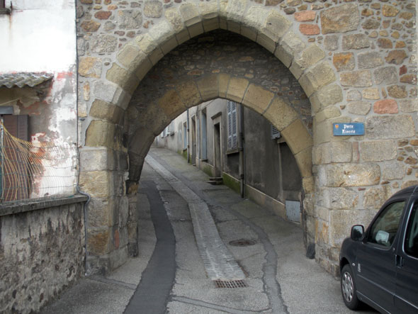 Through an ancient village gate on the trail from Lyon to Le-Puy, France 2009