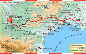 FFRP topo-guide map of route from Arles to Toulouse France