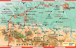 FFRP topo-guide map of route Toulouse France to Jaca, Spain